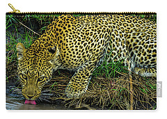 Leopard At A Pond Carry-all Pouch