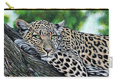 Carry-all Pouch featuring the painting Leopard On Branch by John Neeve
