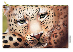 Leopard Resting Carry-all Pouch by Angela Murdock
