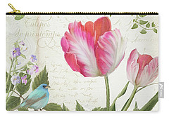 Les Magnifiques Fleurs IIi - Magnificent Garden Flowers Parrot Tulips N Indigo Bunting Songbird Carry-all Pouch by Audrey Jeanne Roberts