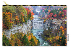 Letchworth Middle Falls In Fall Carry-all Pouch by Mark Papke