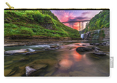 Letchworth Upper Falls At Dusk Carry-all Pouch by Mark Papke
