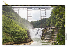Carry-all Pouch featuring the photograph Letchworth Upper Falls by Michael Chatt