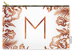 Letter M - Rose Gold Glitter Flowers Carry-all Pouch