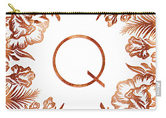 Letter Q - Rose Gold Glitter Flowers Carry-all Pouch