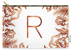 Letter R - Rose Gold Glitter Flowers Carry-all Pouch