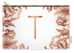 Letter T - Rose Gold Glitter Flowers Carry-all Pouch