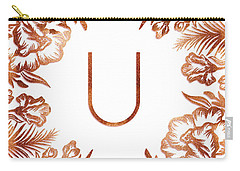 Letter U - Rose Gold Glitter Flowers Carry-all Pouch