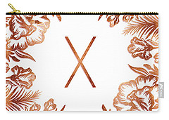Letter X - Rose Gold Glitter Flowers Carry-all Pouch