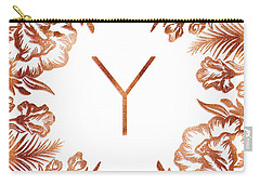 Letter Y - Rose Gold Glitter Flowers Carry-all Pouch