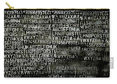 Letters And Numbers Grey On Black Carry-all Pouch