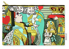 Lewis Carrolls Alice, Red Queen And Cards Carry-all Pouch by Marian Cates