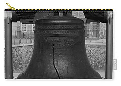 Carry-all Pouch featuring the digital art Liberty Bell Bw by Chris Flees