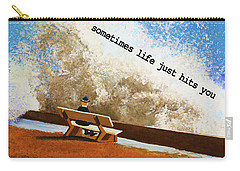 Life Hits You Greeting Card Carry-all Pouch by Thomas Blood