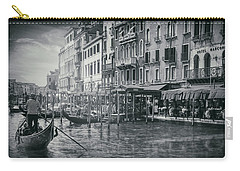 Life On The Grand Canal In Black And White  Carry-all Pouch