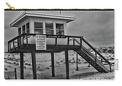 Lifeguard Station 1 In Black And White Carry-all Pouch by Paul Ward
