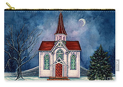 Carry-all Pouch featuring the painting Light Shines On - Winter Country Church by Janine Riley