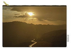 Carry-all Pouch featuring the photograph Light Up The Highway In The Rain by Gaelyn Olmsted