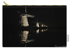 Lighted Windmills In The Black Night Carry-all Pouch