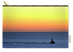 Carry-all Pouch featuring the photograph Lighthouse At Sunrise On Lake Michigan by Zawhaus Photography