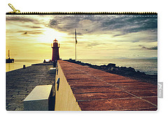 Carry-all Pouch featuring the photograph Lighthouse At Sunset by Silvia Ganora