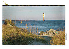 Lighthouse From Beach At Dusk Carry-all Pouch