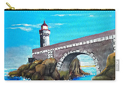 Lighthouse In Brest, France Carry-all Pouch by Jim Phillips
