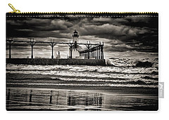 Lighthouse Reflections In Black And White Carry-all Pouch