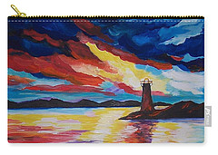 Lighthouse Storm Carry-all Pouch by Leslie Allen