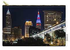 Carry-all Pouch featuring the photograph Lighting Up Cleveland by Dale Kincaid