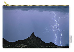 Carry-all Pouch featuring the photograph Lightning Bolts And Pinnacle Peak North Scottsdale Arizona by James BO Insogna