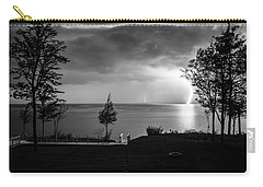 Lightning On Lake Michigan At Night In Bw Carry-all Pouch