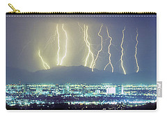 Carry-all Pouch featuring the photograph Lightning Over Phoenix Arizona Panorama by James BO Insogna