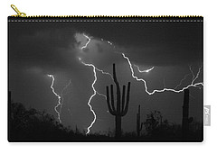 Lightning Storm Saguaro Fine Art Bw Photography Carry-all Pouch
