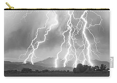 Lightning Striking Longs Peak Foothills 4cbw Carry-all Pouch by James BO  Insogna
