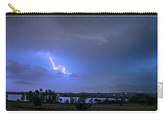 Carry-all Pouch featuring the photograph Lightning Striking Over Boulder Reservoir by James BO Insogna