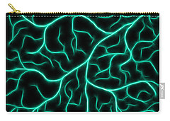 Carry-all Pouch featuring the digital art Lightning - Teal by Shane Bechler