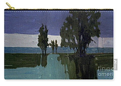 Carry-all Pouch featuring the painting Lights On The Horizon by Donald Maier