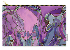 Carry-all Pouch featuring the digital art Lignes En Folie - 13a by Variance Collections