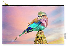 Lilac Breasted Roller At Sunset Carry-all Pouch by Brian Tarr