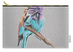 Carry-all Pouch featuring the drawing Lilac Breasted Roller by Gary Stamp