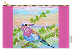 Lilac Breasted Roller In Thorn Tree Carry-all Pouch by Phyllis Kaltenbach