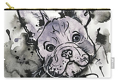 Carry-all Pouch featuring the painting Lilac Frenchie by Zaira Dzhaubaeva