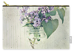 Carry-all Pouch featuring the photograph Lilacs In Old Jar by Anna Louise