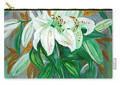 Lilies In A Glass Vase - Painting Carry-all Pouch