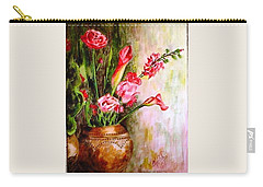 Carry-all Pouch featuring the painting Lilies In The Pots by Harsh Malik