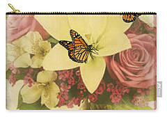 Lililies And Roses Carry-all Pouch by Maria Urso