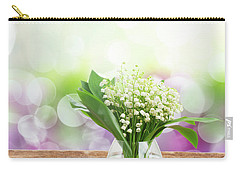 Lilly Of Valley Posy In Glass Carry-all Pouch