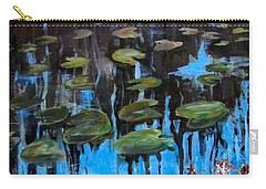 Lilly Pads And Reflections Carry-all Pouch by Barbara O'Toole