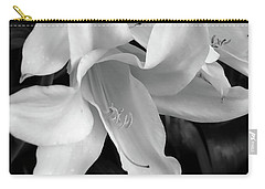 Lily Flowers Black And White Carry-all Pouch
